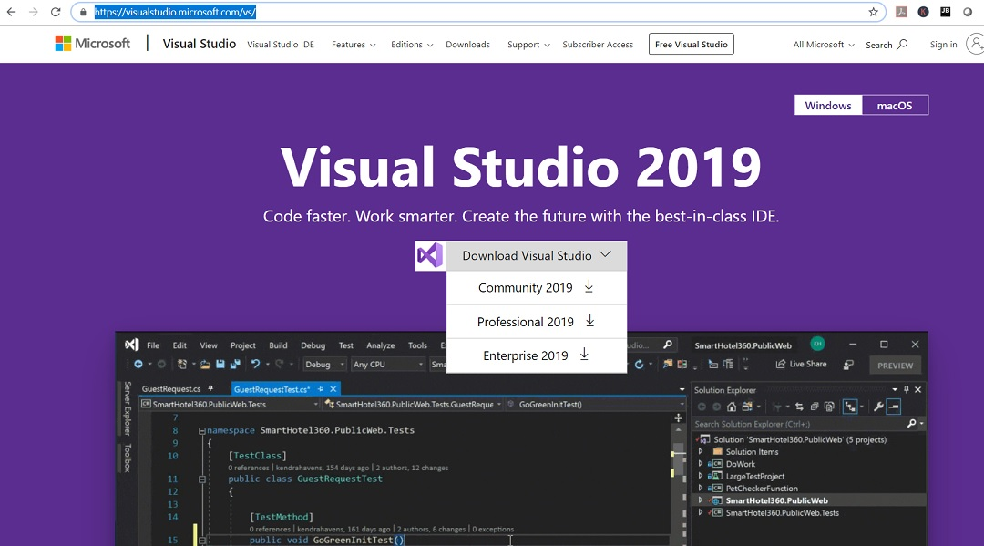 Visual Studio 2019 - Official Web Page