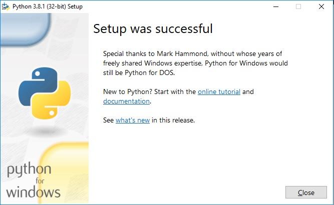 Python Installation - successful