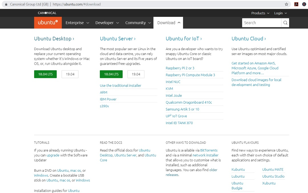 Ubuntu Desktop 19.04 Official download page