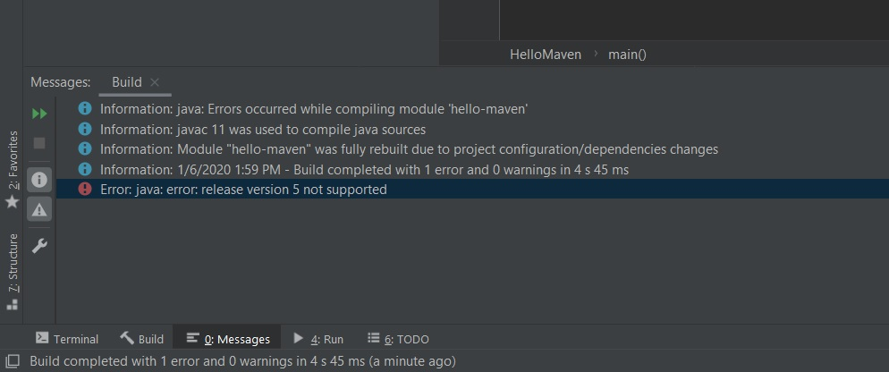Intellij Maven project language level error screenshot