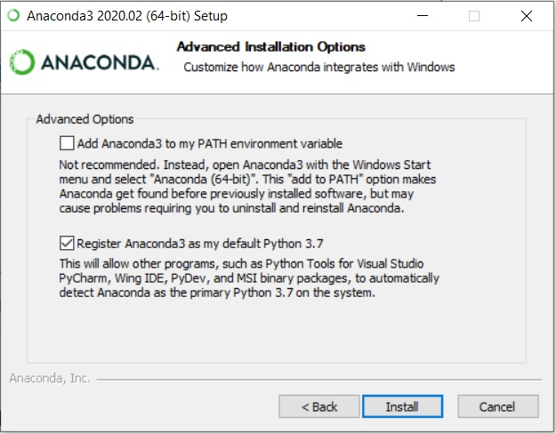 Anaconda Installation - Advanced Options