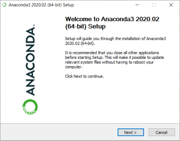 Anaconda 2020 installation Wizard