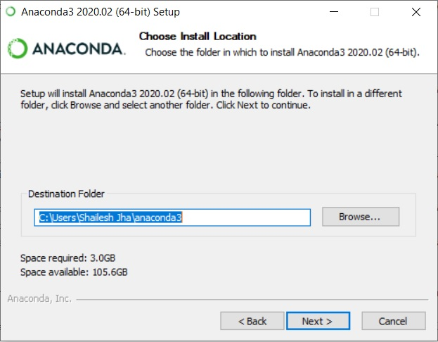 Anaconda Installation - Choose Install Location