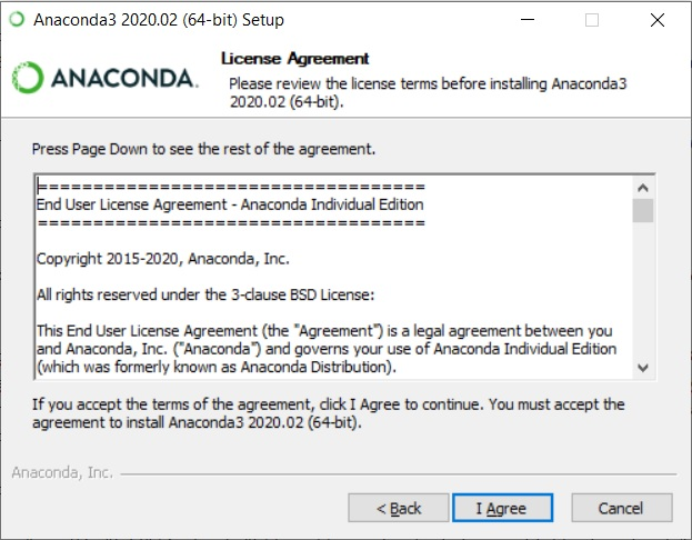 Anaconda Installation - License Agreement