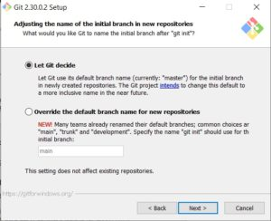 Git scm installation - adjust initial branch name