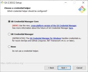 GIT scm - choose credential helper
