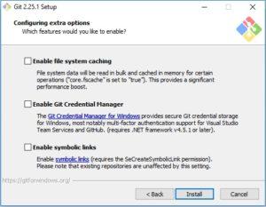 Git scm installation - configure extra options