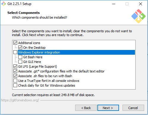 Git scm installation - Select components