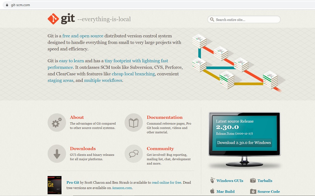 Git website – download page screenshot