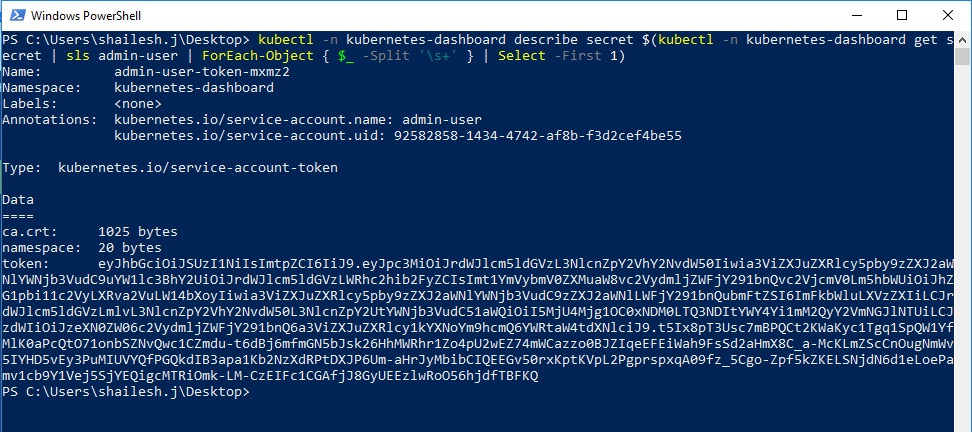 kubectl - find bearer token using powershell