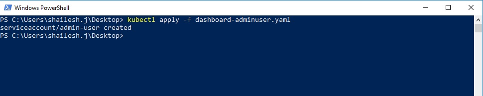 kubectl - create service account and admin user using powershell
