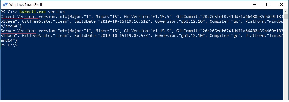 Powershell - kubectl version check