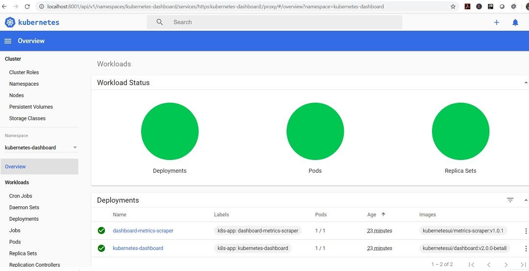 Kubernetes dashboard UI screen