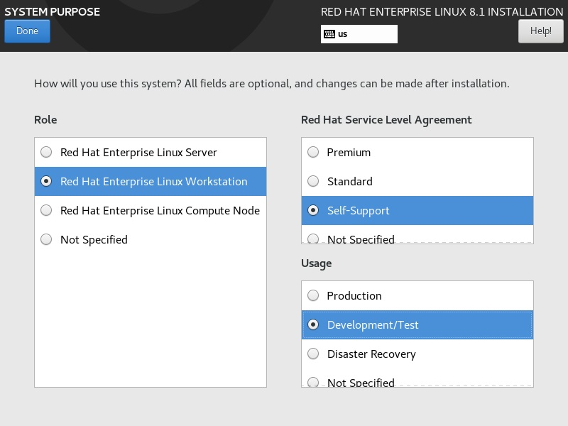 Red Hat Enterprise Linux 8 Installation - System Purpose