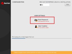 Red Hat Enterprise Linux 8 Installation - SRed Hat Enterprise Linux 8 Installation - Set Root Password et Root Password