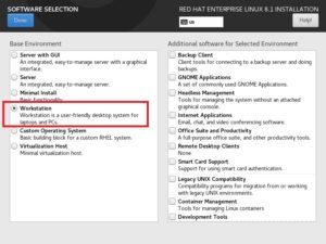 Red Hat Enterprise Linux 8 - Software Selection