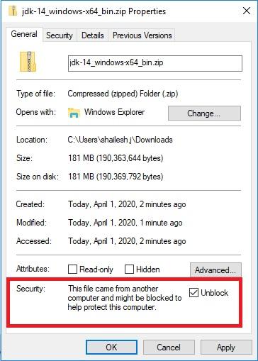 Java 14 JDK – Unblock Zip File