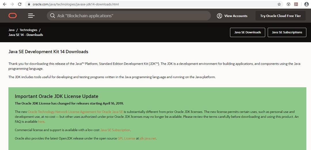 Java 14 JDK download page