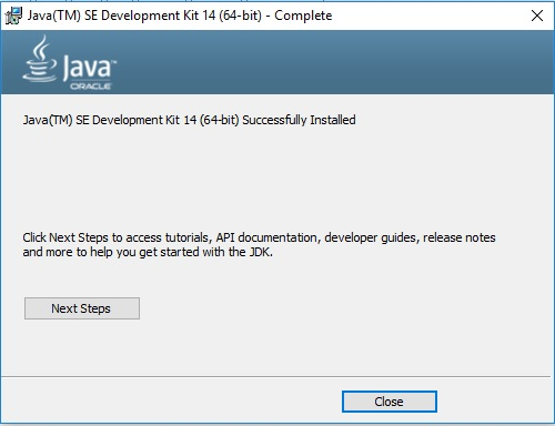 Java JDK 14 Installation Complete