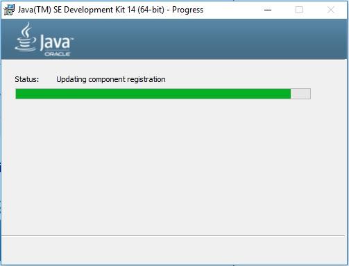 Java 14 JDK Installation progress