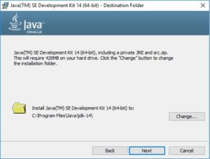 ava 14 JDK Installation Wizard - Specify Destination Folder