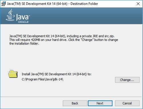ava 14 JDK Installation Wizard - Specify Destination Folder